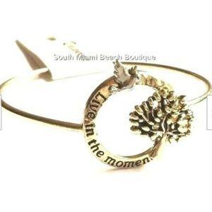 Gold Tree of Life Message Bracelet Bangle Celtic